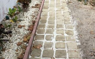 how we made stepping stone walkway from ice cream buckets, concrete masonry, diy, repurposing upcycling
