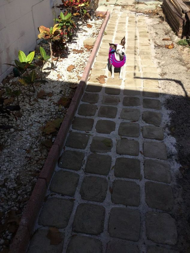 How we made stepping stone walkway from ice cream buckets for Removing concrete walkway