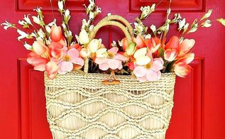 straw tote spring wreath door decor on the cheap, crafts, repurposing upcycling, seasonal holiday decor, wreaths