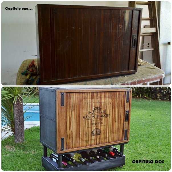 From Antique Storage Cabinet To Modern Rolling Bar!