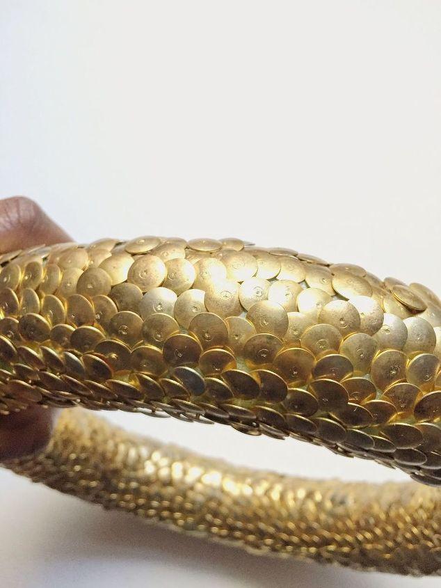 Dollar tree diy gold thumbtack wreath hometalk for Get fish scale