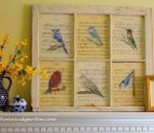 painting my garden our fairfield home and garden, crafts, Bird Prints in a vintage window by Barb Rosen