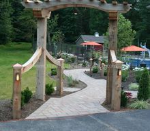 destination backyard poolside patio, concrete masonry, lighting, outdoor living, pool designs, Custom cedar arbor designed to fit area