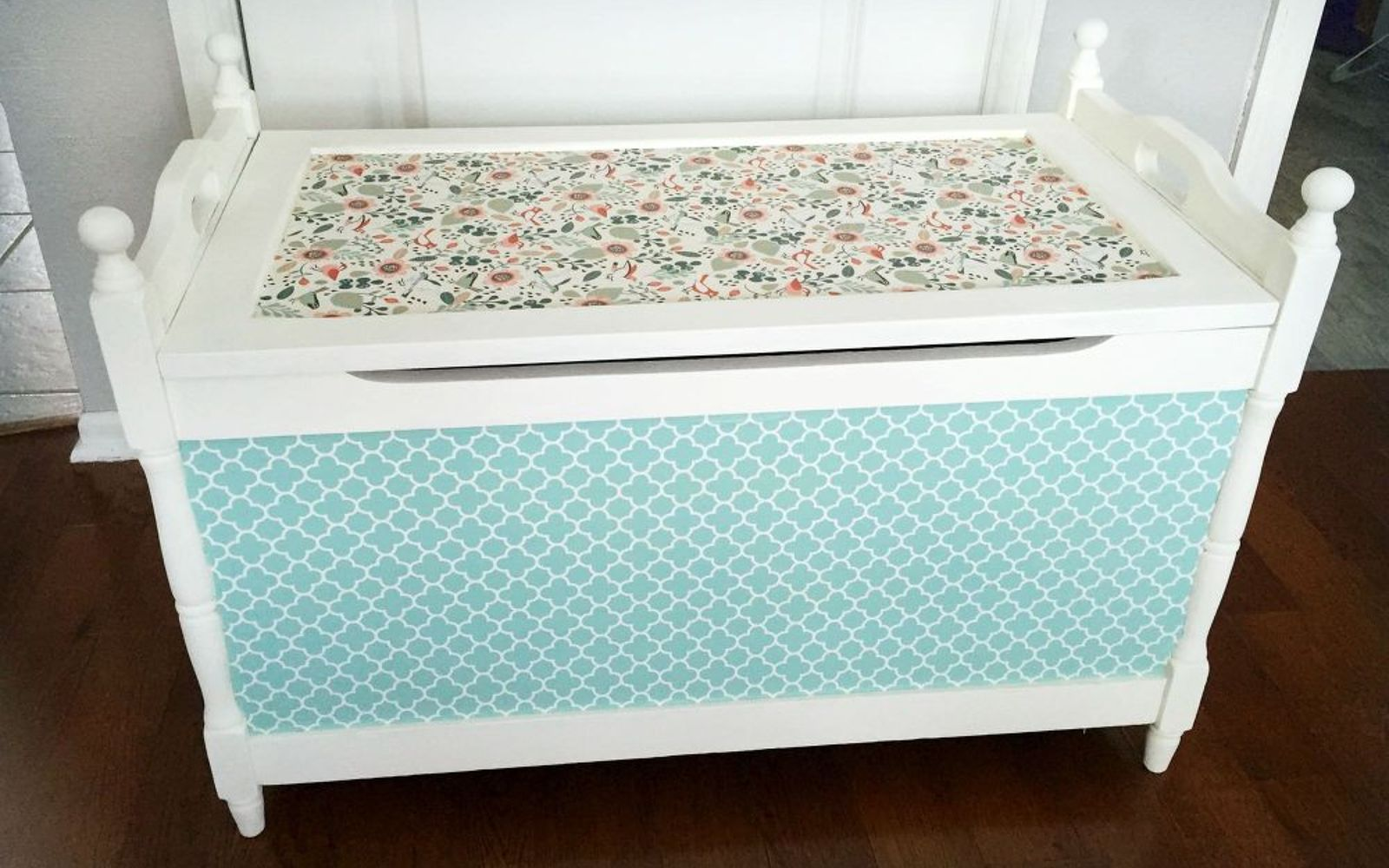 s 17 high end ways to use mod podge in your home, crafts, decoupage, home decor, Turn a storage relic into a papered stunner