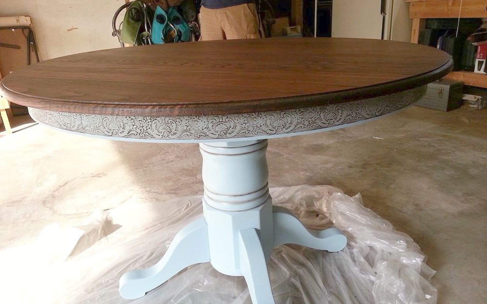 s 13 gorgeous ways to bring your worn kitchen table back to life, kitchen design, painted furniture, Use dark wax to bring out hidden details