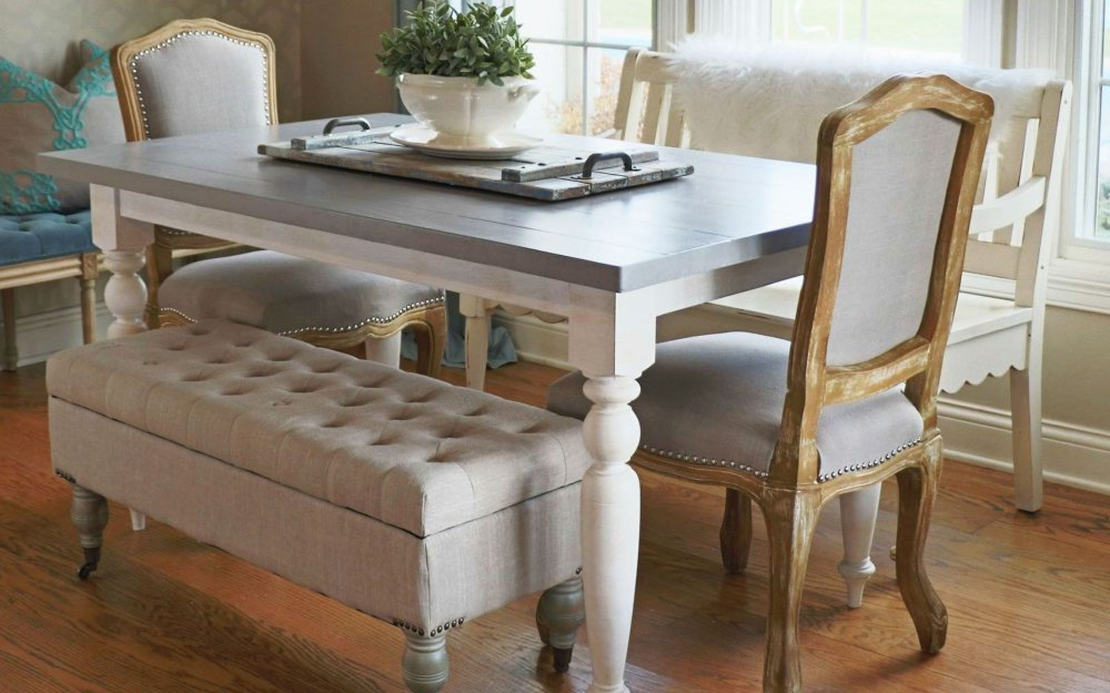 s 13 gorgeous ways to bring your worn kitchen table back to life, kitchen design, painted furniture, Switch out the legs for a different style