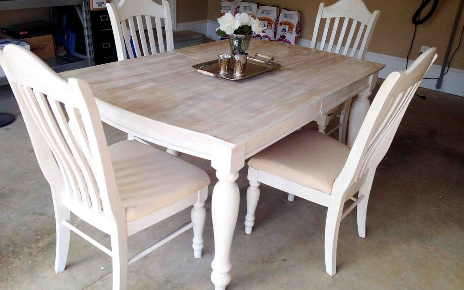 s 13 gorgeous ways to bring your worn kitchen table back to life, kitchen design, painted furniture, Sand it down and use a beachy mix of stains