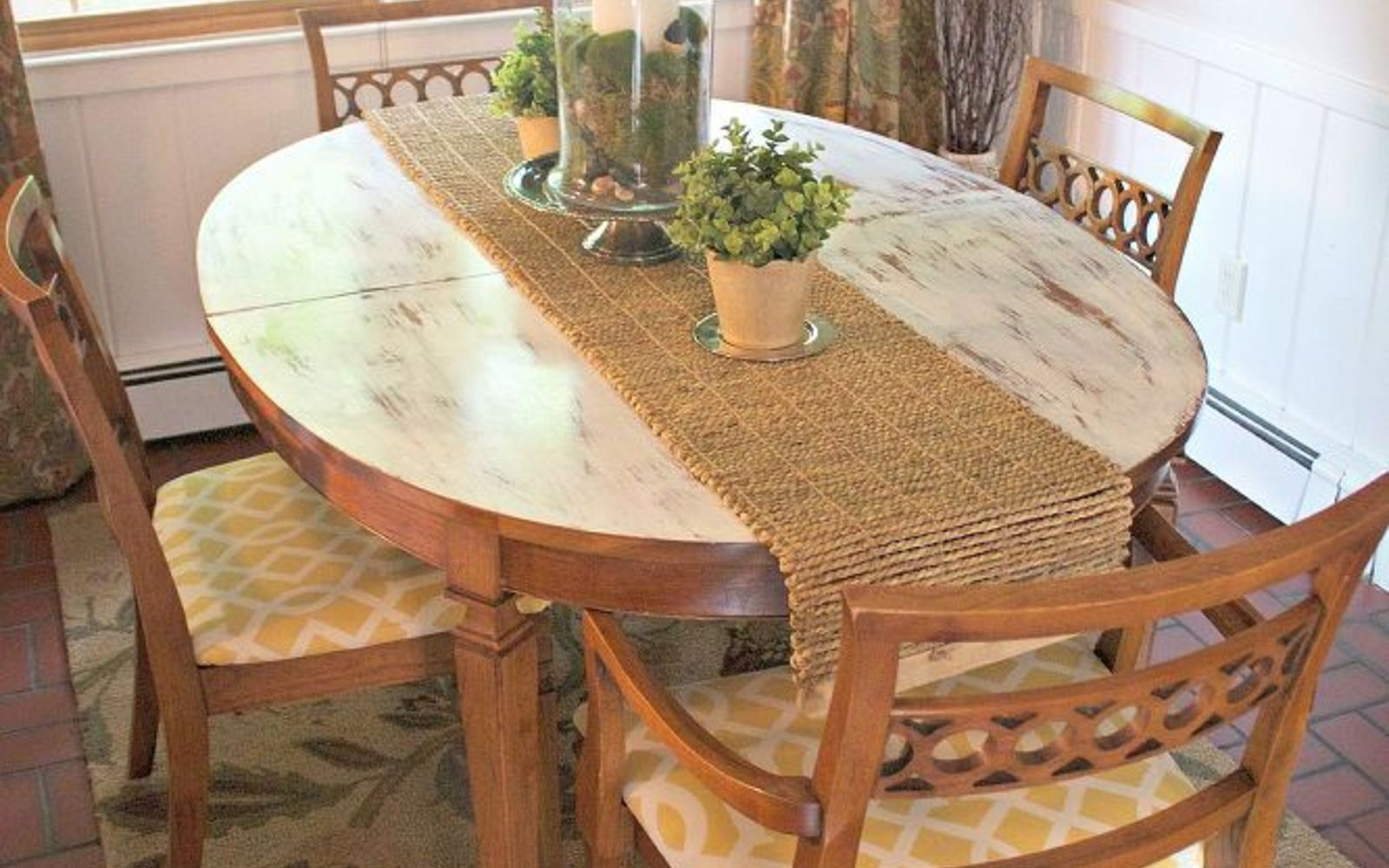 s 13 gorgeous ways to bring your worn kitchen table back to life, kitchen design, painted furniture, Embrace the age with a distressed paint top
