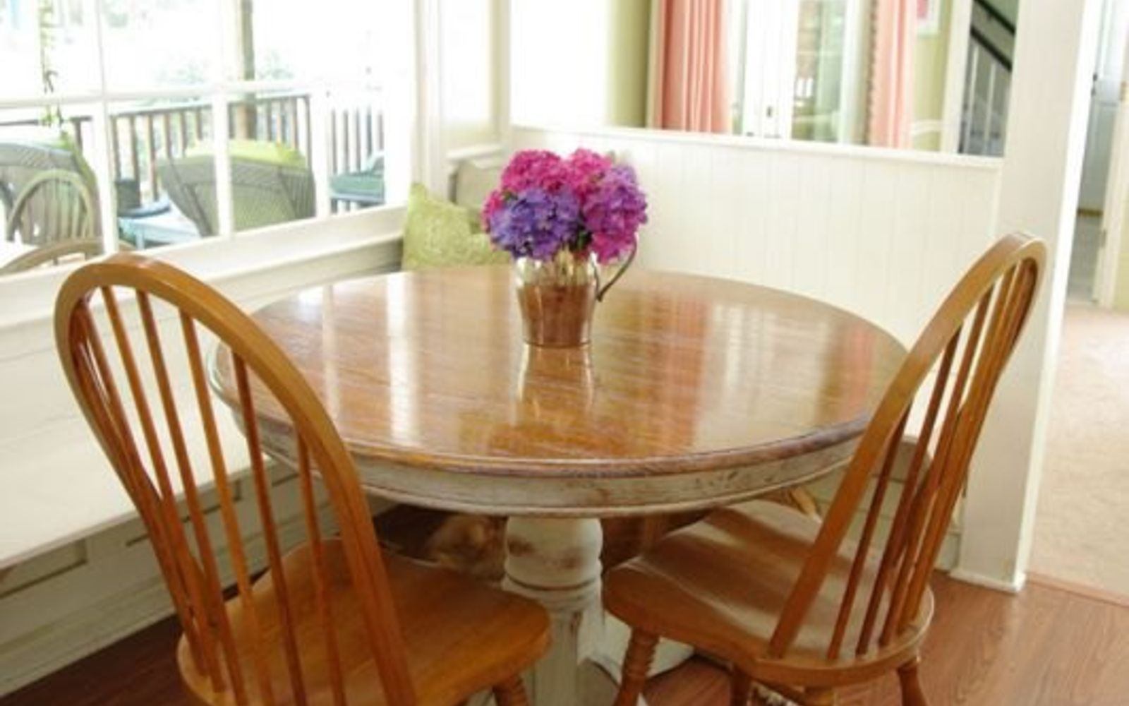 s 13 gorgeous ways to bring your worn kitchen table back to life, kitchen design, painted furniture, Add an aged look to the wood with liming wax