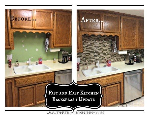 using vinyl smart tiles to update my kitchen diy kitchen backsplash kitchen design - Diy Kitchen Backsplash Tile