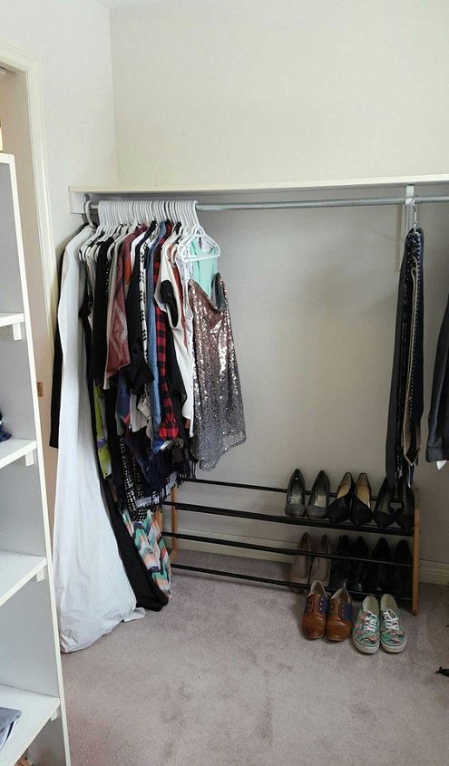 Turn a messy walk in into an organized closet and dressing for Bed dressing ideas