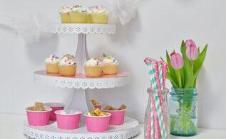 mod podged cupcake stand, crafts, decoupage