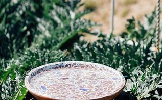 cd mosaic birdbath, crafts, gardening, how to, repurposing upcycling