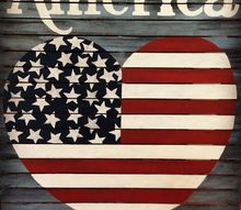 vintage wood americana heart flag, crafts, how to, patriotic decor ideas