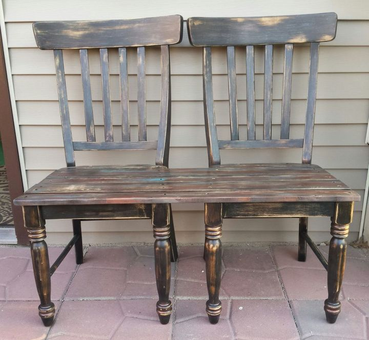Patio bench made from chairs hometalk What are chairs made of