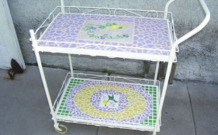 garage sale find becomes patio treasure, painted furniture, repurposing upcycling, tiling