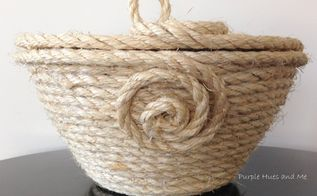 coiled sisal rope basket with lid, crafts, diy, how to, organizing, storage ideas
