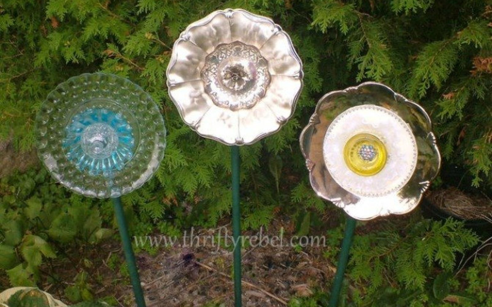 s 17 reasons to drop everything and buy cheap thrift store dishes, crafts, repurposing upcycling, Make large glass flowers for your garden