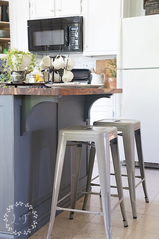 How to update a builder grade kitchen island with trim and for How to paint trim