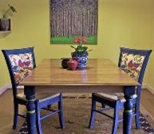a beautiful reunion broken chairs and the mis matched table, dining room ideas, diy, painted furniture, reupholster, My kitchen area after the makeover LOVE