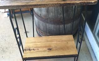 from aquarium stand to barn wood table, painted furniture, repurposing upcycling, shelving ideas