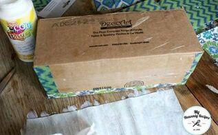 turn a cardboard box into storage, decoupage, organizing, repurposing upcycling, storage ideas