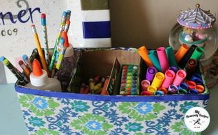 turn a cardboard box into storage, decoupage, organizing, repurposing upcycling, storage ideas