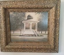 q does this frame work, home decor, home decor dilemma, Print of gazebo in our city park in very old frame