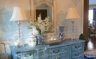 french country entry, chalk paint, painted furniture