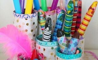 diy pencil organizer with recycled paper tubes, crafts, organizing, repurposing upcycling