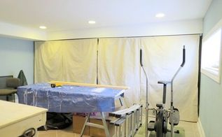 drop cloth curtains on conduit, repurposing upcycling, window treatments, windows