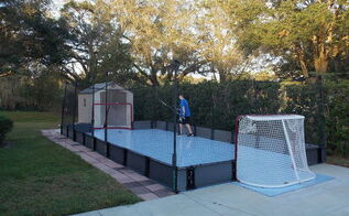 home sports fitness courts, diy, outdoor furniture, outdoor living, Finished Rink One Happy Kid
