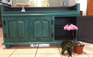 china hutch repurposed into a flat screen tv stand, chalk paint, diy, entertainment rec rooms, painted furniture, repurposing upcycling, woodworking projects, Almost done