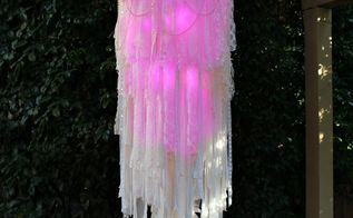 light up boho chandelier, lighting, outdoor living, repurposing upcycling