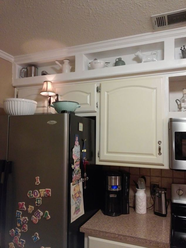 Update from outdated soffits to usable space hometalk for What kind of paint to use on kitchen cabinets for box frame wall art