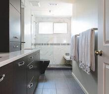 door less bath gets makeover, bathroom ideas, doors, Master Bath With Floating Bench