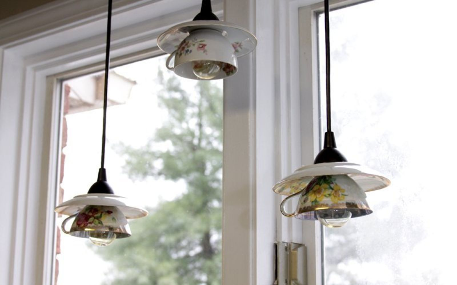 s don t ditch your broken teacups til you see what people do with them, repurposing upcycling, Or turn a whole set into many pendant lights