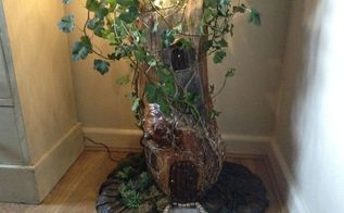fairy house in tree branch, crafts, gardening, The finished house ready for somebody to move