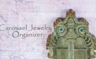 carousel jewelry organizer, chalk paint, crafts, decoupage, how to, organizing, repurposing upcycling