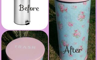 a generic trash can gets a shabby cottage style makeover, painted furniture, shabby chic