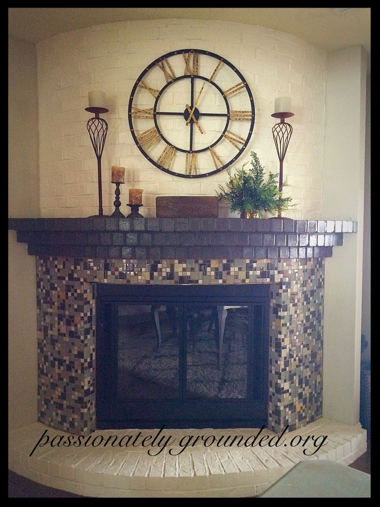 Grey Painted Brick Fireplace
