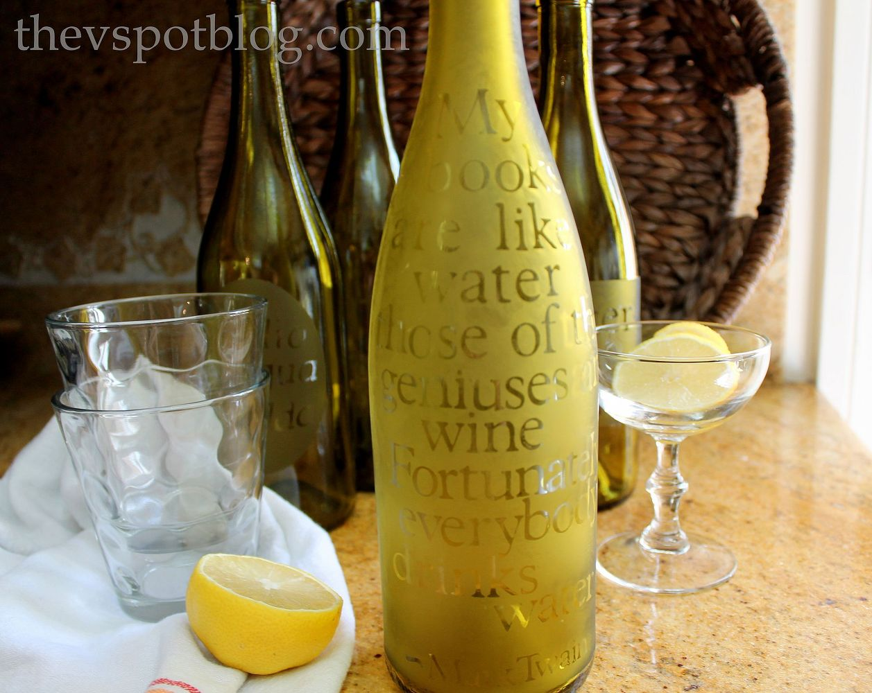 What to do with empty wine bottles - Serve Drinks On The Porch In Etched Carafes