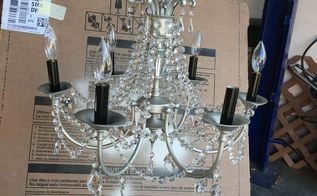 shabby chandelier make over, lighting, painting, shabby chic, Ready to hang