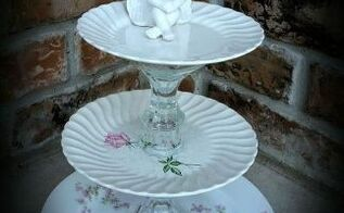 3 tier dessert plate, crafts, repurposing upcycling