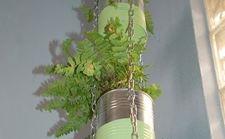 recycled can plant holder, container gardening, crafts, gardening, repurposing upcycling