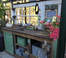 potting bench and greenhouse project, gardening, outdoor furniture, painted furniture, Old Door Reclaimed Wood Copper sink Vents