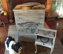 chest of drawers turned into piece of equestrian art using stain, painted furniture, rustic furniture
