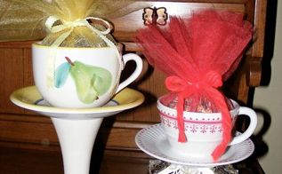 teacup bird feeder gifts , animals, crafts, gardening, outdoor living, pets animals, repurposing upcycling, Tulle birdseed bags