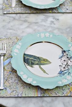 easy map table mats, crafts, decoupage, dining room ideas