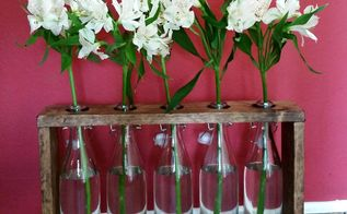 diy recycled bottles wood centerpiece, container gardening, gardening, how to, repurposing upcycling
